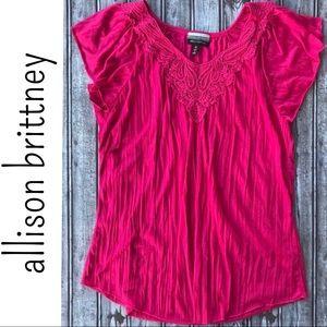 Allison Brittney • Pleated Flutter Sleeve Top